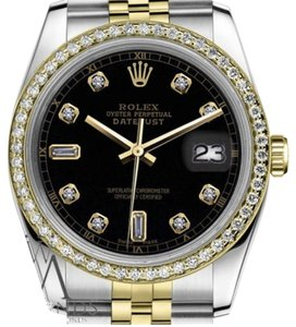 Rolex Woman's 26mm Datejust 2 Tone Black Color Dial with 8+2 Diamond Accent