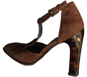 Via Spiga Suede T-strap Fall Fashion Rich Brown Suede/Tortoise Shell Lucite Heel Pumps