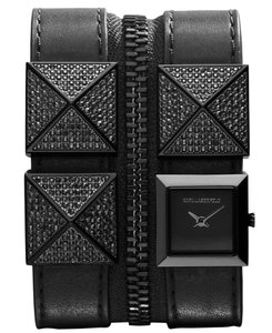 Karl Lagerfeld Karl Lagerfeld Black Glitz Leather Double Zip Bracelet Watch KL2002