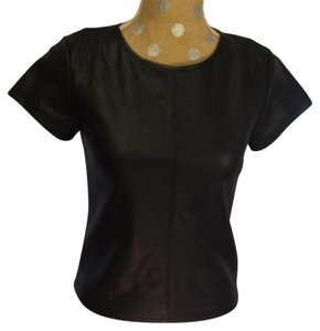 Olivaceous Faux Leather Top black
