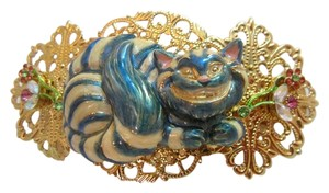 Kirks Folly Large Cheshire Cat Barrette Alice In Wonderland Hair Clip Very Rare!
