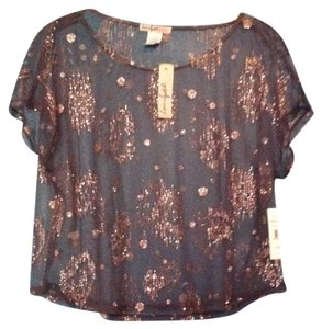 Love Squared Top Sheer/ Navy & Gold