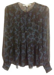 Rachel Roy Floral Top Black and Blue