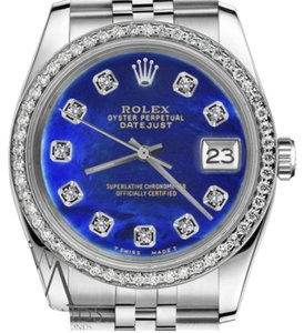 Rolex Women`s 26mm Datejust Blue Color Treated Mother Of Pearl Diamond Watch