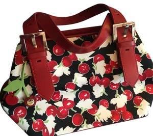 Karen Millen Satchel in Red, Black, Cherry Print