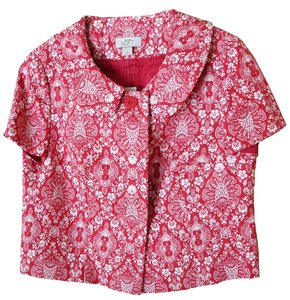 Ann Taylor LOFT Capelet Damask Red Fall Red/White Jacket