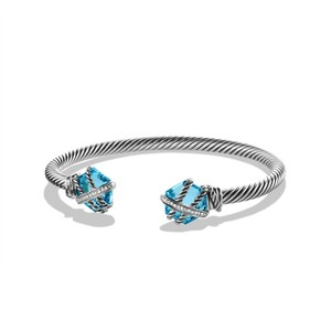 David Yurman Cable Wrap Bracelet with Blue Topaz and Diamonds (Medium)
