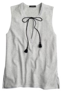 J.Crew Embroidered Sleeveless Top Gray