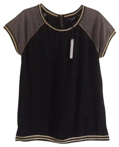 Sanctuary Clothing Tunic Gold Trim Top Black