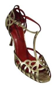 Cesare Paciotti Red New Formal Party Gold Sandals