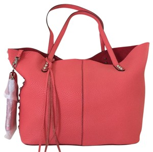 Rebecca Minkoff Leather Matching Wrislet Pebbled Leather Tote in Coral