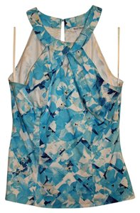 White House | Black Market Floral Cut-out Print Halter Top Blue
