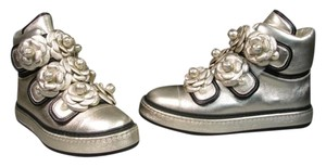 Chanel New Camellia Flowers Trainers Running Boots Pale Metallic Gold Athletic