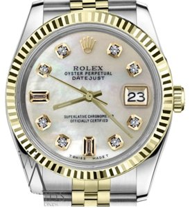 Rolex Women`s 31mm Datejut 2 Tone White Mother Of Pearl 8+2 Diamond Dial
