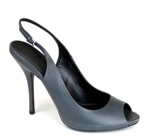 Gucci Leather Sling-back Heel Bluish Grey Pumps