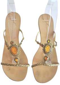 Giuseppe Zanotti Leather Jewel Embellished Flat Size 41 gold Sandals