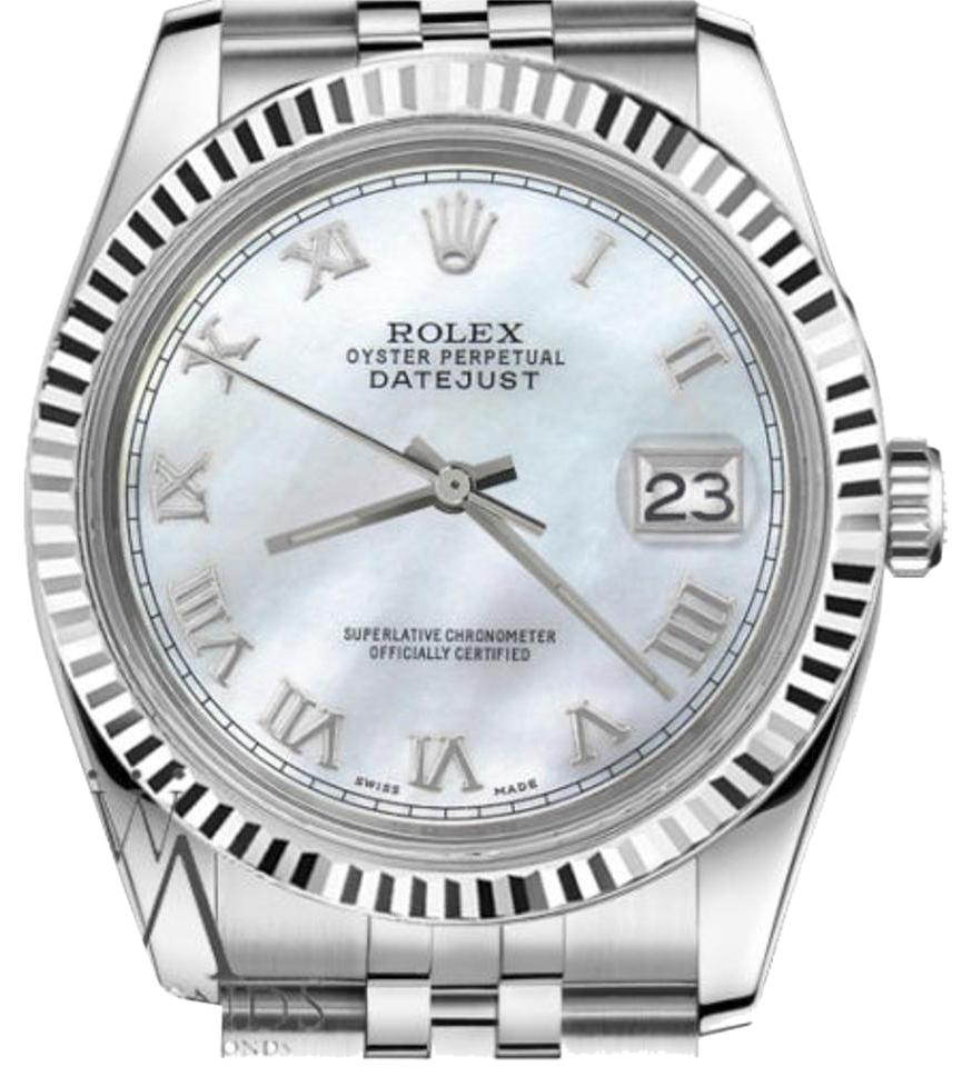 Rolex Women`s 31mm Datejust White Mother Of Pearl Roman Numeral Dial Watch  ... 310ab5fda2c3