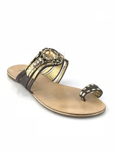 Giuseppe Zanotti Jewel Embellished Flat Slides Size 41 Dark Brown Sandals