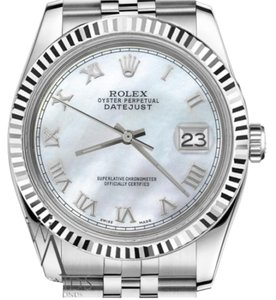 Rolex Man`s 36mm Datejust White MOP Mother Of Pearl Roman Numeral Dial Watch