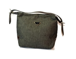 Prada Tote in Denim with Brown Leather