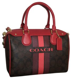 Coach Satchel in Brown/True Red