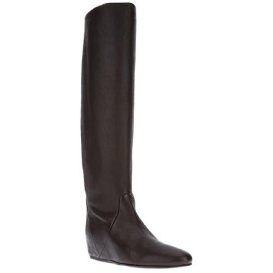 6ba61f67d337 Lanvin Dark Brown Hidden Wedge Boots Booties Size US 8 Regular (M