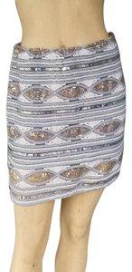 Coveted Clothing Mini Sequin Stretch Pull-on Mini Skirt Gray