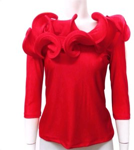 Gracia Ruffle Shoulderless Top Red