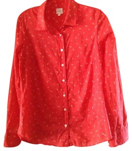 J.Crew Button Down Shirt Orange/red