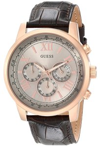 Guess Guess Men's U0380G4 Brown and Rose Goldtone Classic Chronograph watch