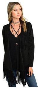 Other Suede Fringe Bohemian Waterfall Leather Jacket