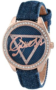 Guess GUESS Women's U0456L6 Blue Logo Watch Blue Denim Leather Strap