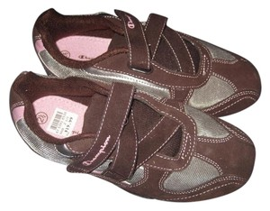 Champion Girl's Leather Sneakers with Velcro Closure, Brown/Pink, Sz 2.5