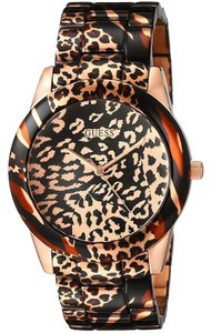 Guess GUESS Women's U0425L3 Brown Watch with Rose Gold-Tone Animal Print