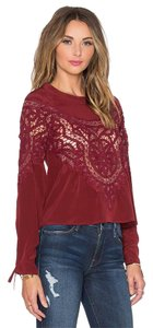 For Love & Lemons & Maroon With Lace Inserts Top Dark Red