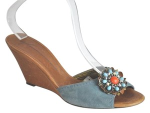 Giuseppe Zanotti Embellished Wedge Slide Blue Suede Size 41 Multicolor Sandals