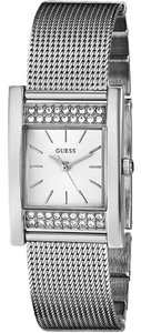 Guess GUESS Women's U0127L1 Timeless Shine Crystal Mesh Silver-Tone Watch