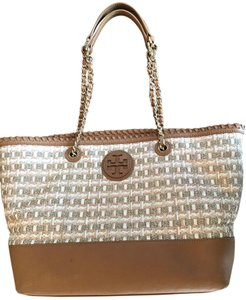 Tory Burch Marion Woven Tote in Brown / Gold / Multicolor