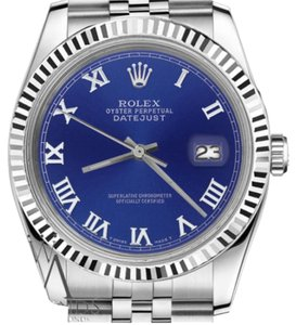 Rolex Man`s Rolex 36mm Datejust Blue Color Roman Numeral Dial Watch