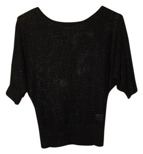 Takeout Losse Knit Half Sleeve Top Black