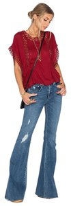 Tularosa Boho Eyelet Lace Top Wine