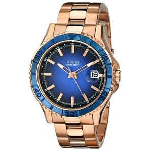 Guess GUESS Men's U0244G3 Color Sport Blue Dial Rose Gold-Tone Watch