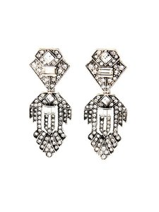 Silver Crystal Chandelier Deco Statement Earrings