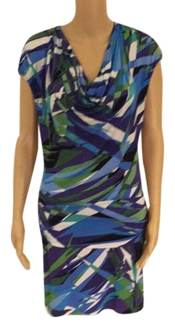 Item - White Green Violet Mid-length Night Out Dress Size 2 (XS)