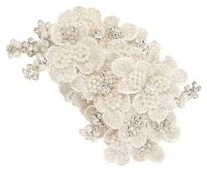 David's Bridal Ivory Embroidered Pearl Flower Clip Hair Accessory