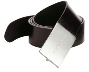 Burberry Plain Leather Sloane 35MM Plaque Buckle Belt Size 40/100
