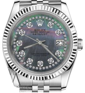 Rolex Women`s 36mm Datejust Black Mother of Pearl String Diamond AccentWatch