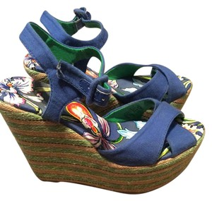 Ed Hardy Stripes Blue Wedges