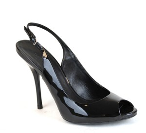 Gucci Patent Leather Sling-back Heel 317033 Black Pumps
