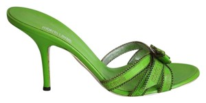 Roberto Cavalli Leather Satin Embelished Size 40.5 New With Box Lime Green Sandals